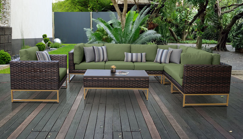 TK Classics Barcelona 8 Piece Outdoor Wicker Patio Furniture Set 08d - Cilantro (Gold) | Kipe it