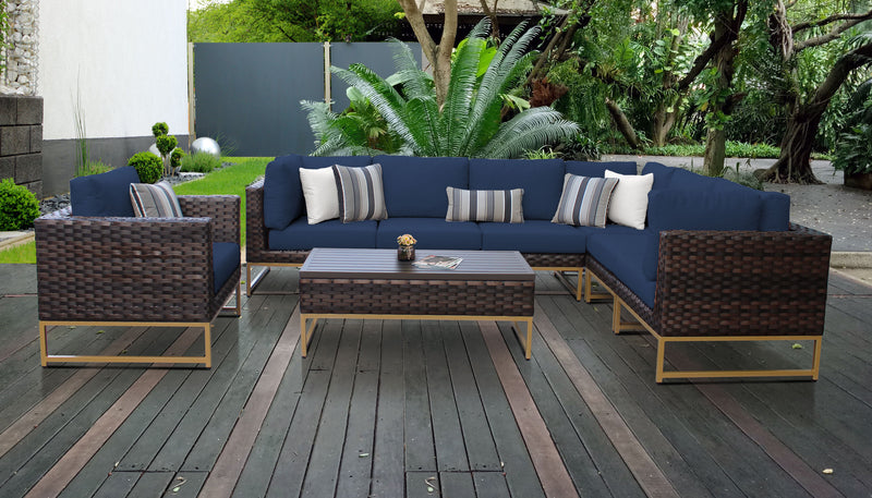 TK Classics Barcelona 8 Piece Outdoor Wicker Patio Furniture Set 08d - Navy (Gold) | Kipe it