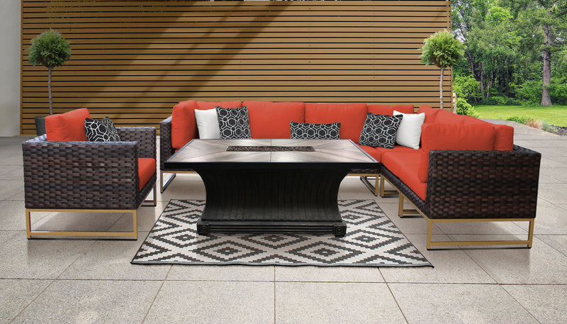 TK Classics Barcelona 8 Piece Outdoor Wicker Patio Furniture Set 08e - Tangerine (Gold) | Kipe it