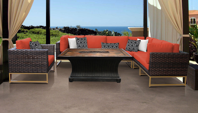 TK Classics Barcelona 8 Piece Outdoor Wicker Patio Furniture Set 08g - Tangerine (Gold) | Kipe it