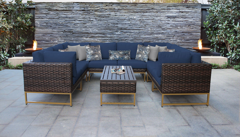 TK Classics Barcelona 9 Piece Outdoor Wicker Patio Furniture Set 09c - Navy (Gold) | Kipe it
