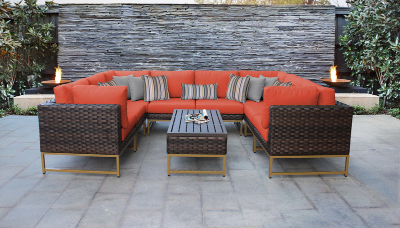 TK Classics Barcelona 9 Piece Outdoor Wicker Patio Furniture Set 09c - Tangerine (Gold) | Kipe it