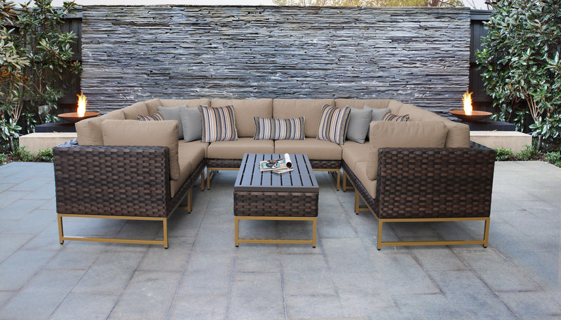 TK Classics Barcelona 9 Piece Outdoor Wicker Patio Furniture Set 09c - Wheat (Gold) | Kipe it
