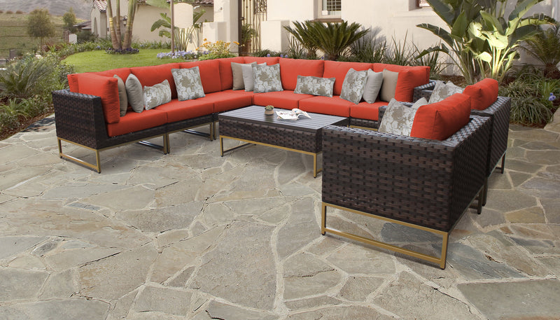 TK Classics Barcelona 10 Piece Outdoor Wicker Patio Furniture Set 10a - Tangerine (Gold) | Kipe it