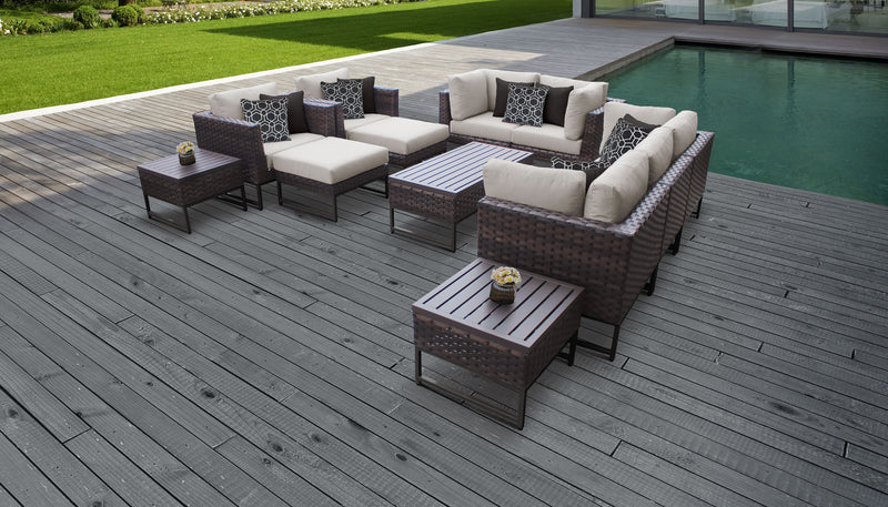 TK Classics Barcelona 12 Piece Outdoor Wicker Patio Furniture Set 12h - Beige (Brown) | Kipe it