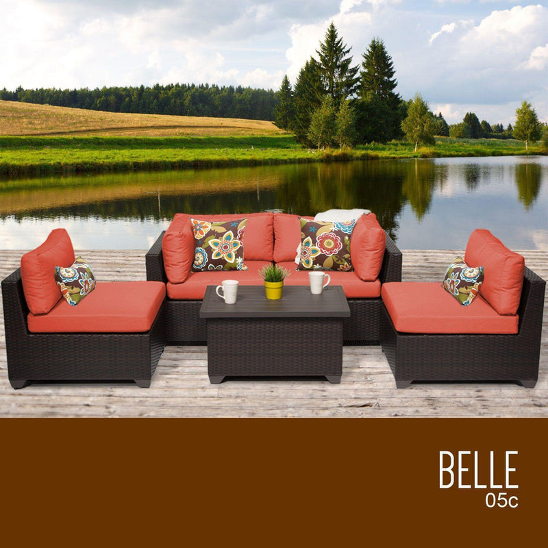 TK CLASSICS Belle 5 Piece Outdoor Wicker Patio Furniture Set 05c - Tangerine | Kipe it