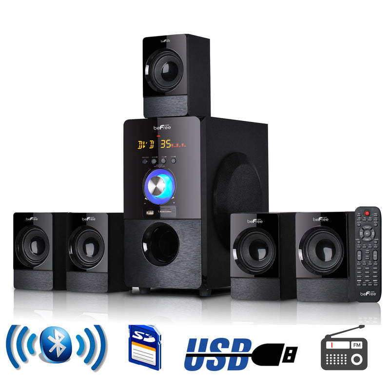 beFree Sound 5.1 Channel Surround Sound Bluetooth Speaker System in Black | Kipe it