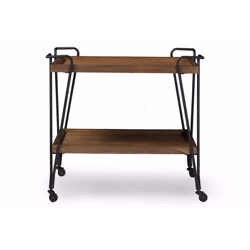 Industrial Style Ash Wood Mobile Serving Bar Cart, Brown and Black