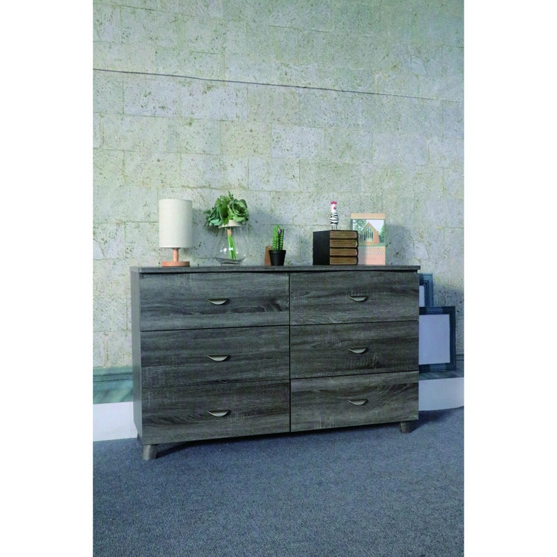 Spacious Dresser With Six Storage Drawers On Metal Glides, Gray Finish | Kipe it