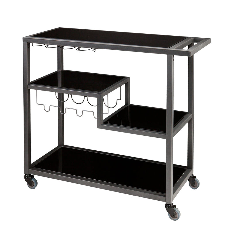 Contemporary Style Metal Bar Cart With Tempered Glass Shelves, Gunmetal Gray Black