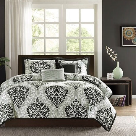 California King size 5-Piece Black White Damask Comforter Set | Kipe it