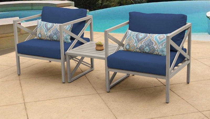 TK CLASSICS Carlisle 3 Piece Outdoor Wicker Patio Furniture Set 03a - Navy | Kipe it