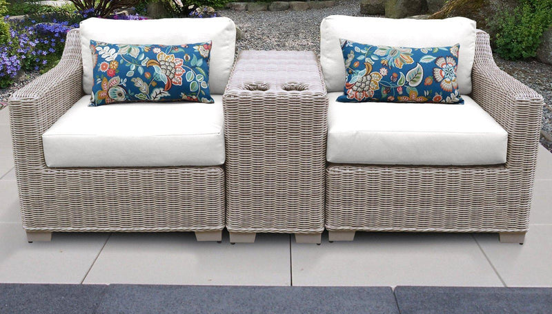 TK CLASSICS Coast 3 Piece Outdoor Wicker Patio Furniture Set 03b - Sail White | Kipe it