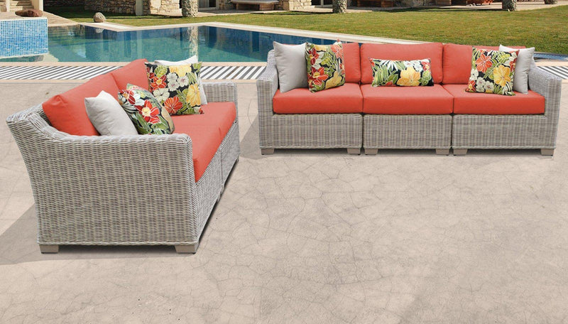 TK CLASSICS Coast 5 Piece Outdoor Wicker Patio Furniture Set 05a - Tangerine | Kipe it