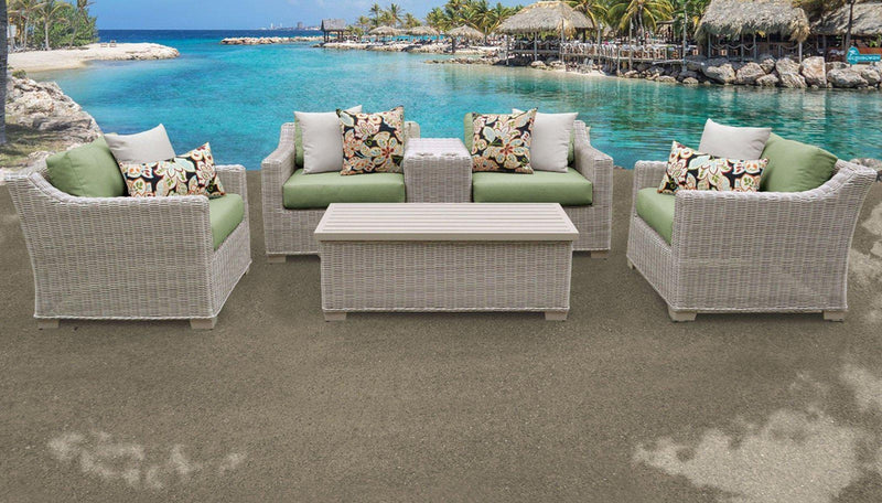 TK CLASSICS Coast 6 Piece Outdoor Wicker Patio Furniture Set 06d - Cilantro | Kipe it