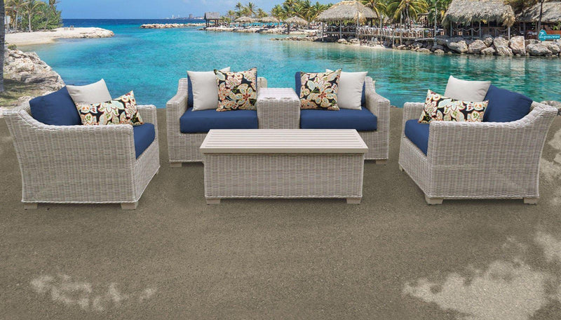 TK CLASSICS Coast 6 Piece Outdoor Wicker Patio Furniture Set 06d - Navy | Kipe it
