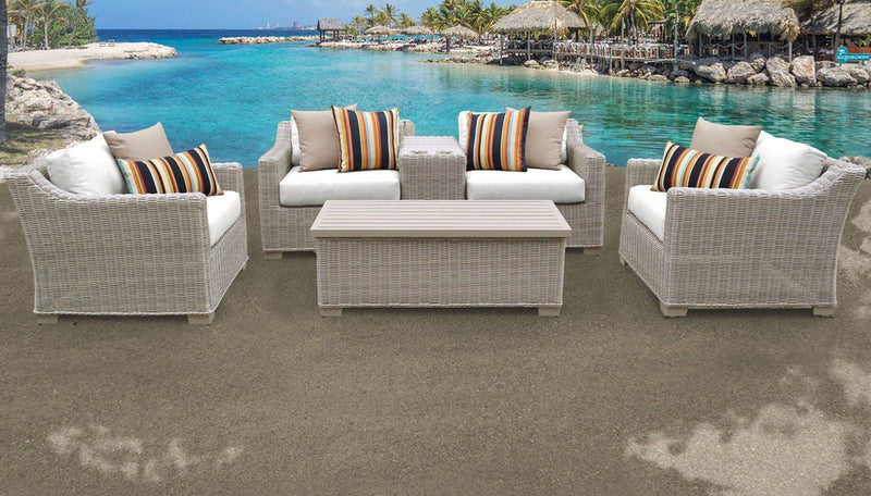 TK CLASSICS Coast 6 Piece Outdoor Wicker Patio Furniture Set 06d - Sail White | Kipe it