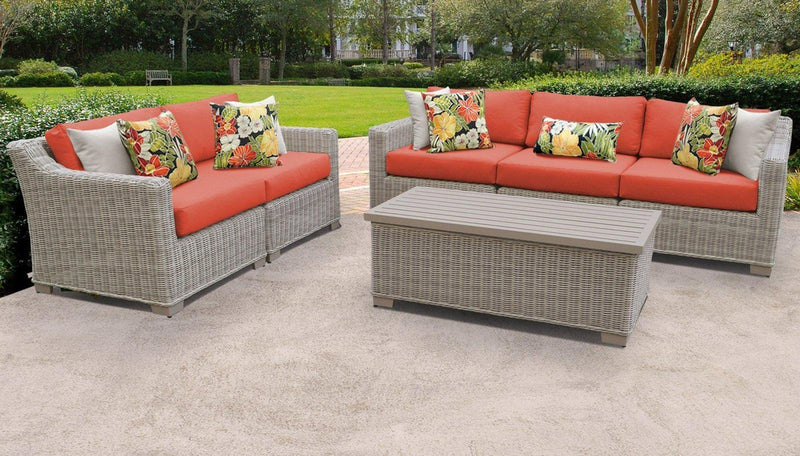 TK CLASSICS Coast 6 Piece Outdoor Wicker Patio Furniture Set 06p - Tangerine | Kipe it