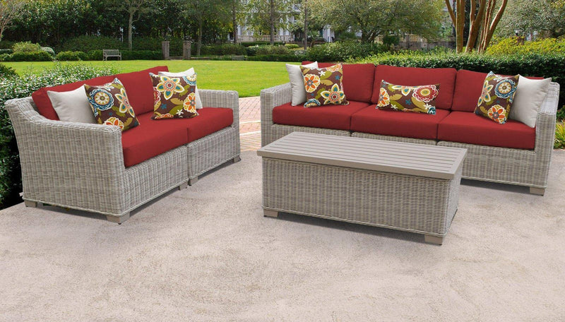 TK CLASSICS Coast 6 Piece Outdoor Wicker Patio Furniture Set 06p - Terracotta | Kipe it