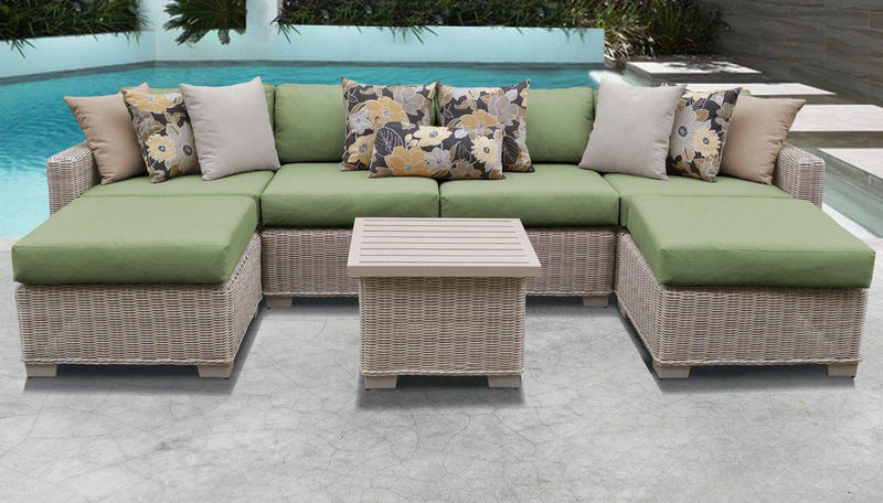 TK CLASSICS Coast 7 Piece Outdoor Wicker Patio Furniture Set 07a - Cilantro | Kipe it