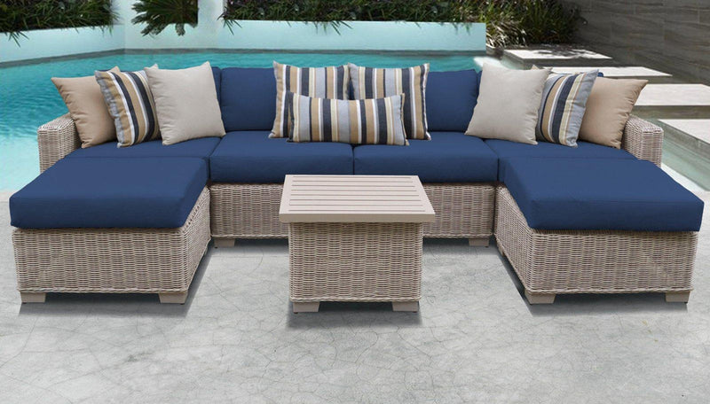 TK CLASSICS Coast 7 Piece Outdoor Wicker Patio Furniture Set 07a - Navy | Kipe it
