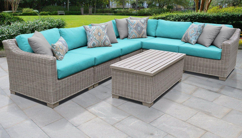TK CLASSICS Coast 7 Piece Outdoor Wicker Patio Furniture Set 07b - Aruba | Kipe it
