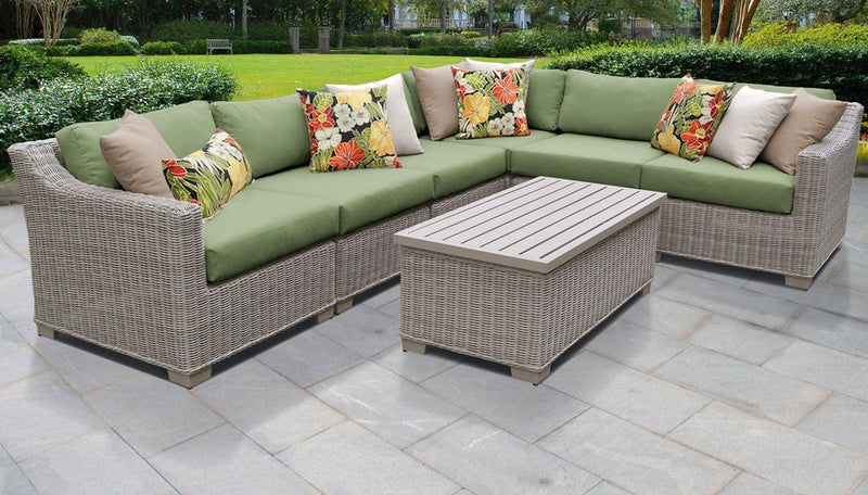 TK CLASSICS Coast 7 Piece Outdoor Wicker Patio Furniture Set 07b - Cilantro | Kipe it