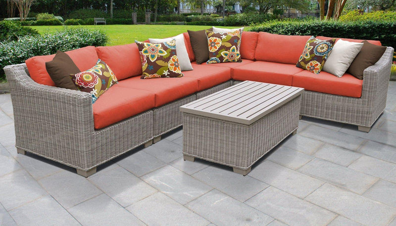 TK CLASSICS Coast 7 Piece Outdoor Wicker Patio Furniture Set 07b - Tangerine | Kipe it