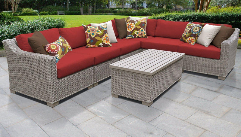 TK CLASSICS Coast 7 Piece Outdoor Wicker Patio Furniture Set 07b - Terracotta | Kipe it