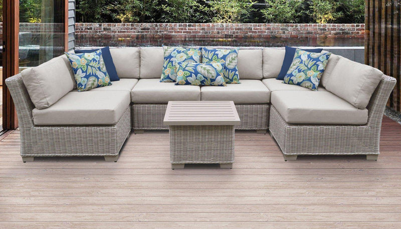 TK CLASSICS Coast 7 Piece Outdoor Wicker Patio Furniture Set 07c - Beige | Kipe it