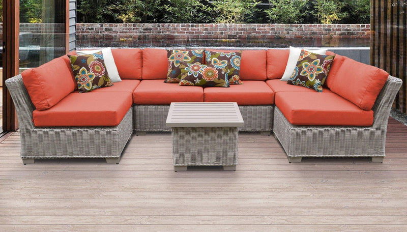 TK CLASSICS Coast 7 Piece Outdoor Wicker Patio Furniture Set 07c - Tangerine | Kipe it