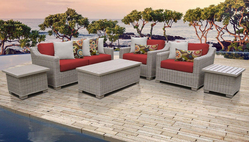 TK CLASSICS Coast 7 Piece Outdoor Wicker Patio Furniture Set 07d - Terracotta | Kipe it