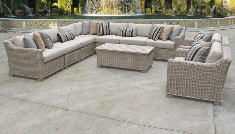 TK CLASSICS Coast 10 Piece Outdoor Wicker Patio Furniture Set 10a - Beige | Kipe it