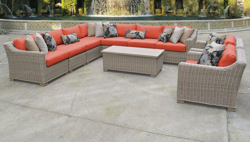 TK CLASSICS Coast 10 Piece Outdoor Wicker Patio Furniture Set 10a - Tangerine | Kipe it