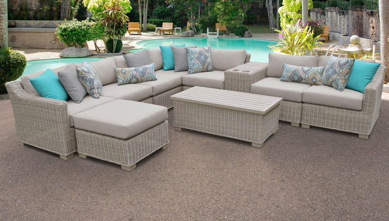 TK CLASSICS Coast 10 Piece Outdoor Wicker Patio Furniture Set 10b - Cilantro | Kipe it