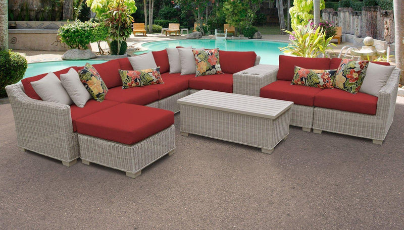 TK CLASSICS Coast 10 Piece Outdoor Wicker Patio Furniture Set 10b - Terracotta | Kipe it