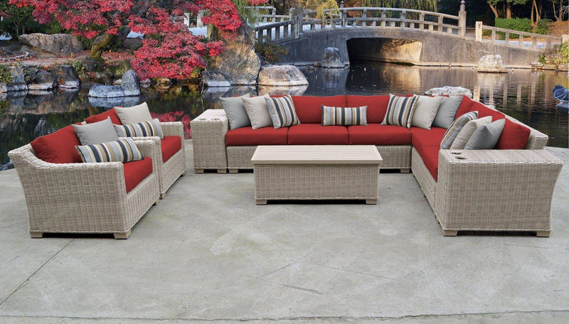 TK CLASSICS Coast 11 Piece Outdoor Wicker Patio Furniture Set 11d - Terracotta | Kipe it
