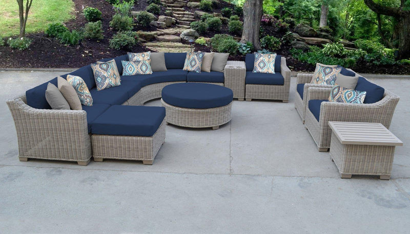 TK CLASSICS Coast 12 Piece Outdoor Wicker Patio Furniture Set 12a - Navy | Kipe it
