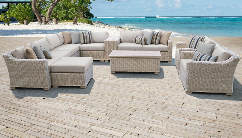 TK CLASSICS Coast 12 Piece Outdoor Wicker Patio Furniture Set 12b - Beige | Kipe it