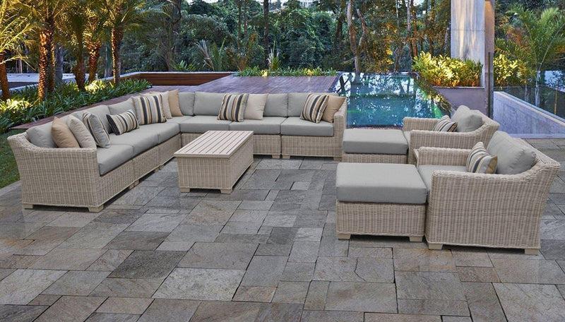 TK CLASSICS Coast 13 Piece Outdoor Wicker Patio Furniture Set 13a - Grey | Kipe it