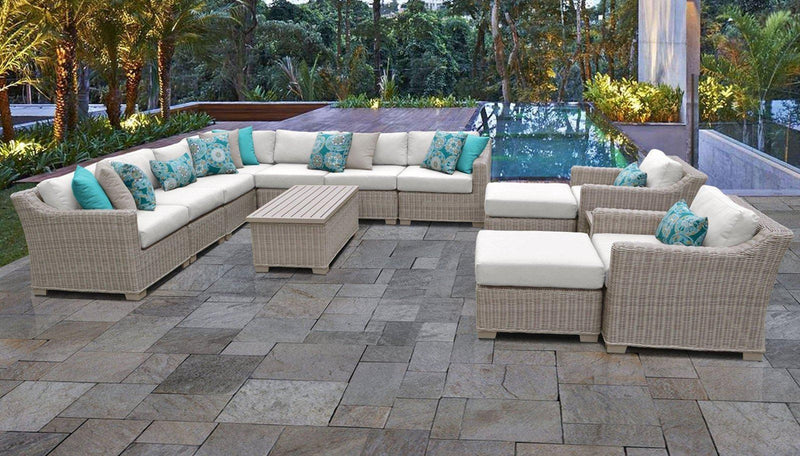 TK CLASSICS Coast 13 Piece Outdoor Wicker Patio Furniture Set 13a - Tangerine | Kipe it