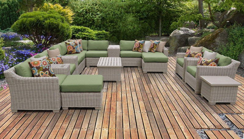 TK CLASSICS Coast 14 Piece Outdoor Wicker Patio Furniture Set 14a - Cilantro | Kipe it