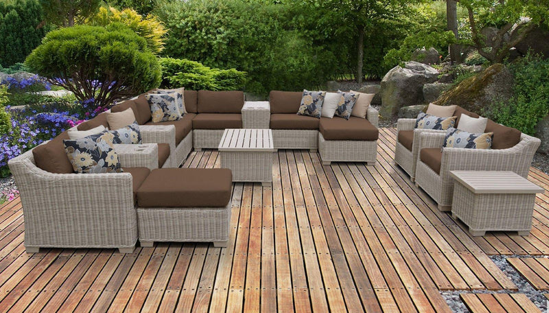TK CLASSICS Coast 14 Piece Outdoor Wicker Patio Furniture Set 14a - Cocoa | Kipe it