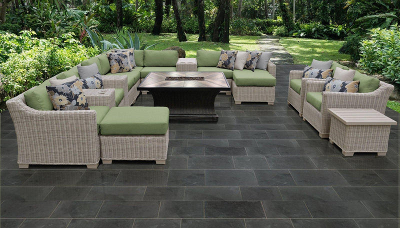 TK CLASSICS Coast 17 Piece Outdoor Wicker Patio Furniture Set 17d - Cilantro | Kipe it