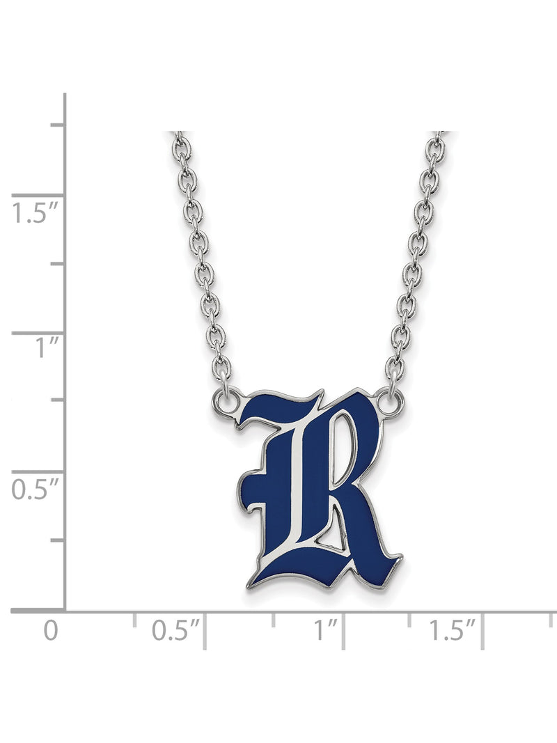Enamel Rice University Necklace in Rhodium Flashed Sterling Silver - Lobster | Kipe it