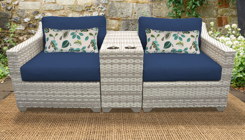 TK CLASSICS Fairmont 3 Piece Outdoor Wicker Patio Furniture Set 3b - Navy