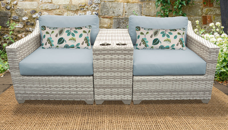 TK CLASSICS Fairmont 3 Piece Outdoor Wicker Patio Furniture Set 3b - Spa