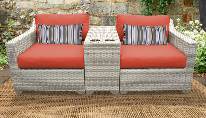 TK CLASSICS Fairmont 3 Piece Outdoor Wicker Patio Furniture Set 3b - Tangerine