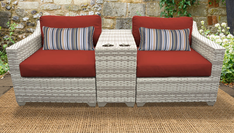 TK CLASSICS Fairmont 3 Piece Outdoor Wicker Patio Furniture Set 3b - Terracotta