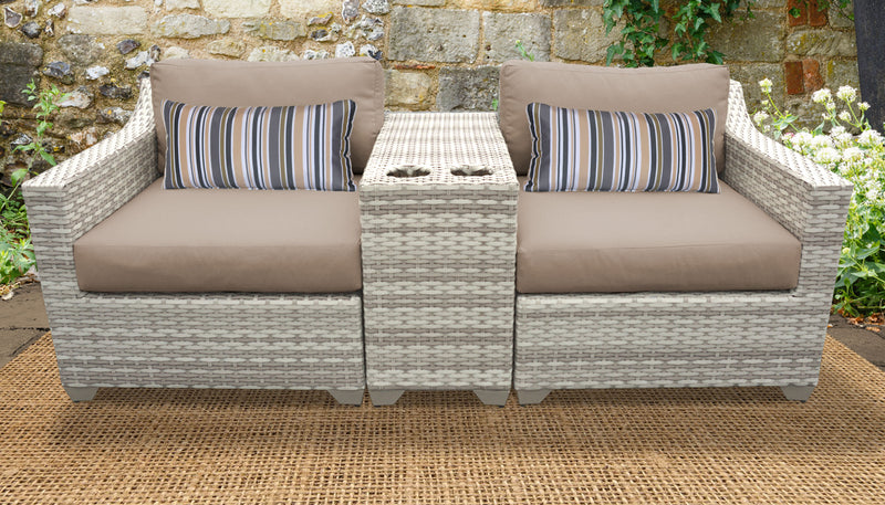 TK CLASSICS Fairmont 3 Piece Outdoor Wicker Patio Furniture Set 3b - Wheat